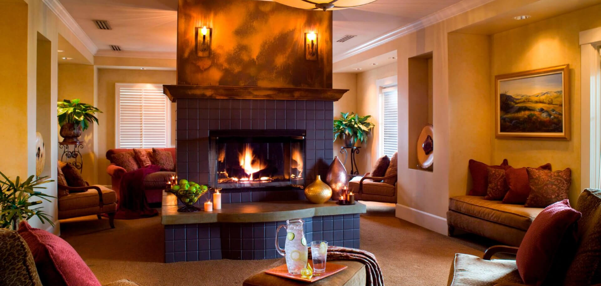 The comfortable lounge area found at Raindance Spa in Sonoma.