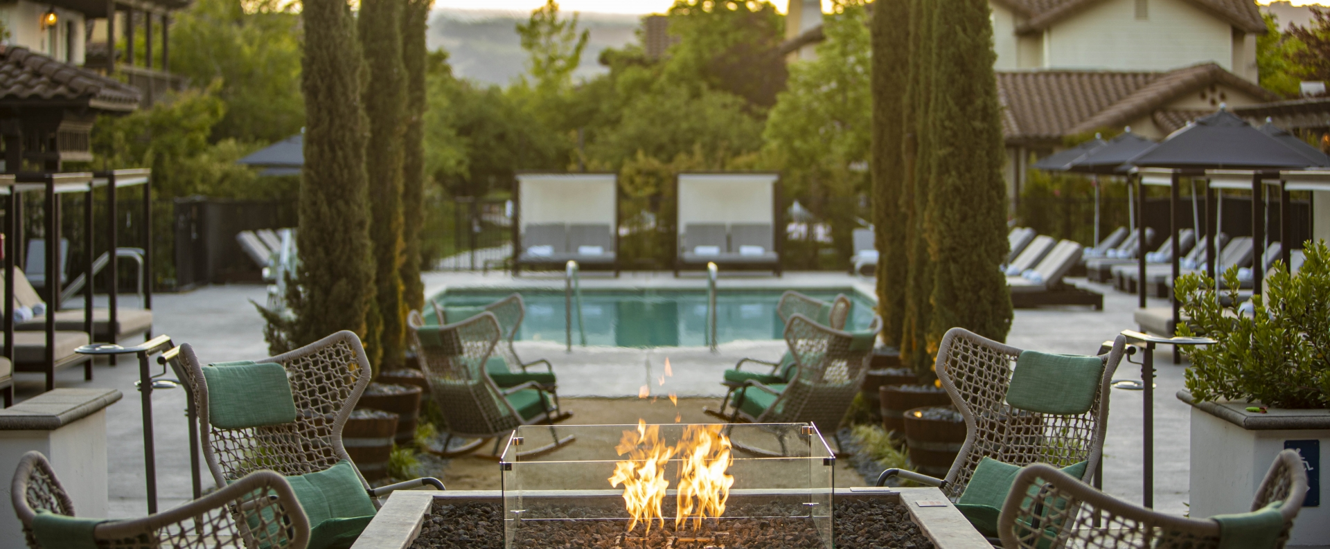 Outdoor fireplace at the Lodge at Sonoma